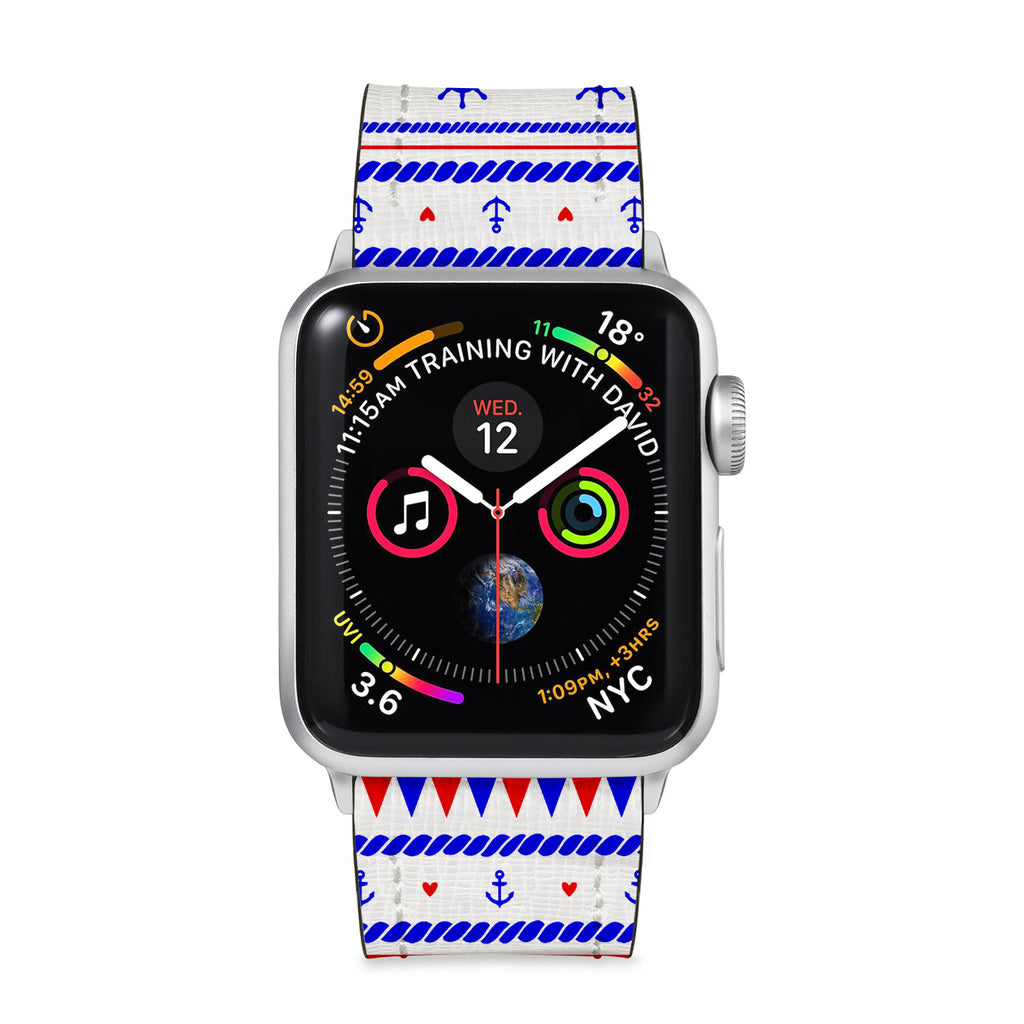 Our Printed Leather Apple Watch Band with Nautical design are made of water- and scratch-resistant saffiano leather because we know you wear your apple watch every, single, day. - swap
