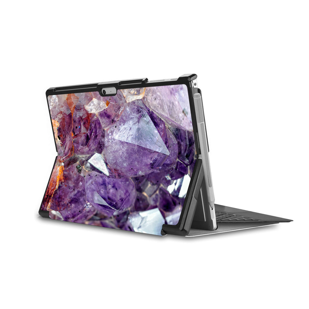 the back side of Personalized Microsoft Surface Pro and Go Case in Movie Stand View with Crystal Diamond design - swap