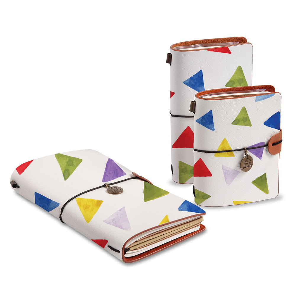 three size of midori style traveler's notebooks with Geometry Pattern design