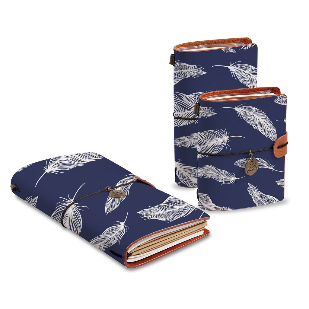 three size of midori style traveler's notebooks with Feather design