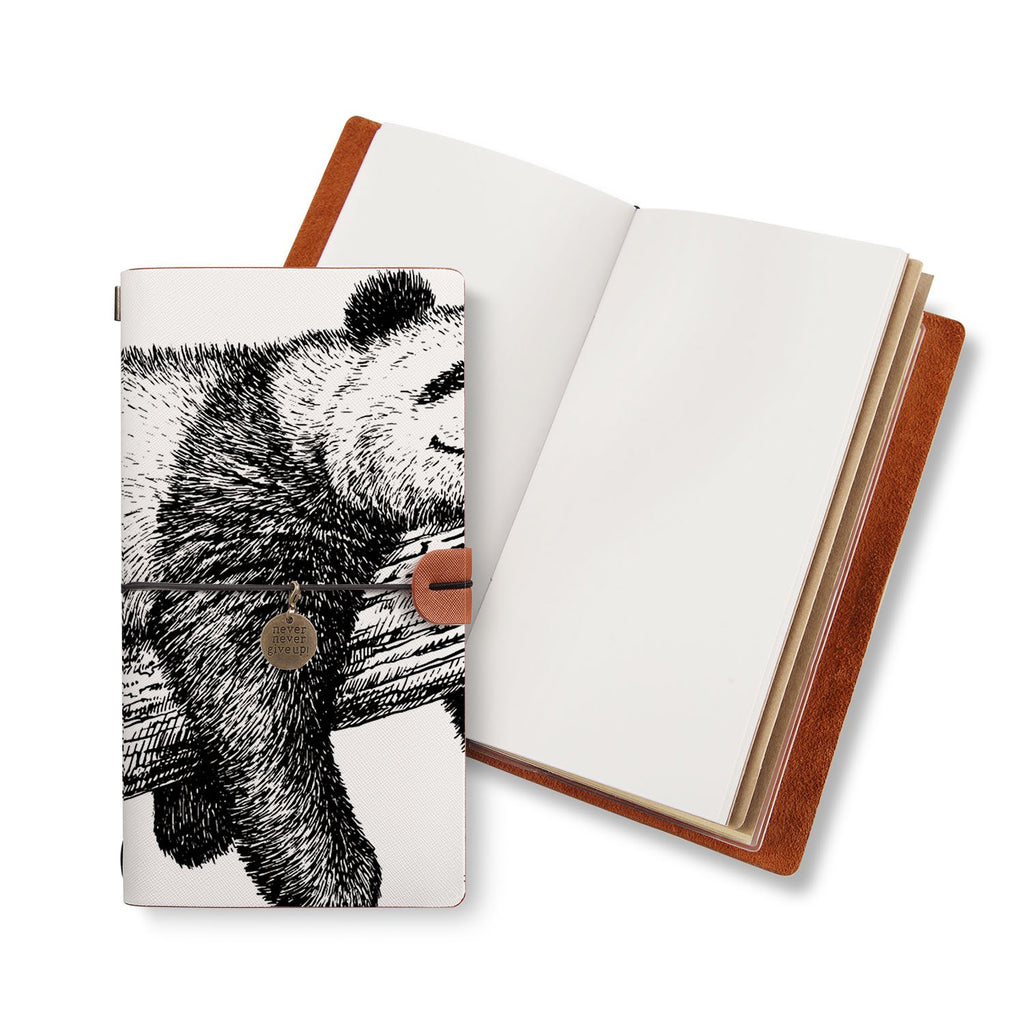 opened midori style traveler's notebook with Cute Animal design