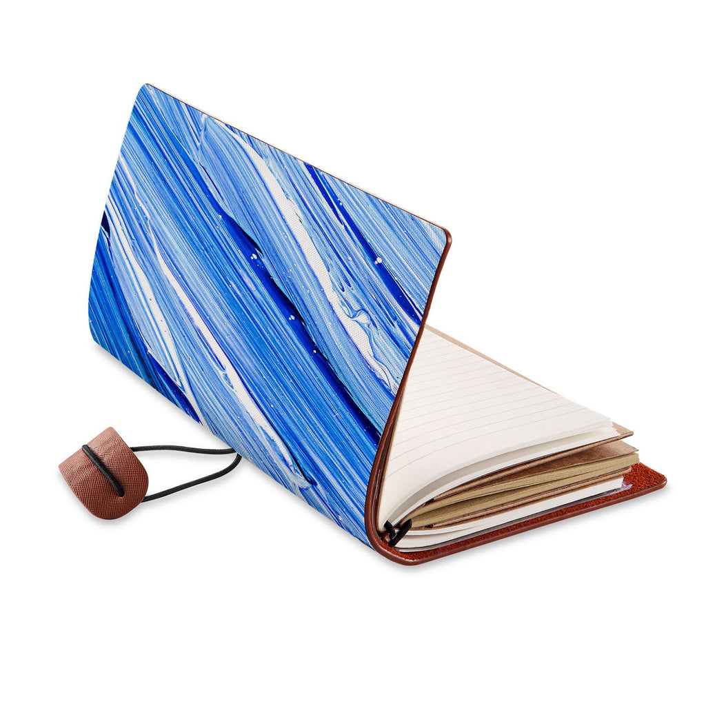 opened view of midori style traveler's notebook with Futuristic design