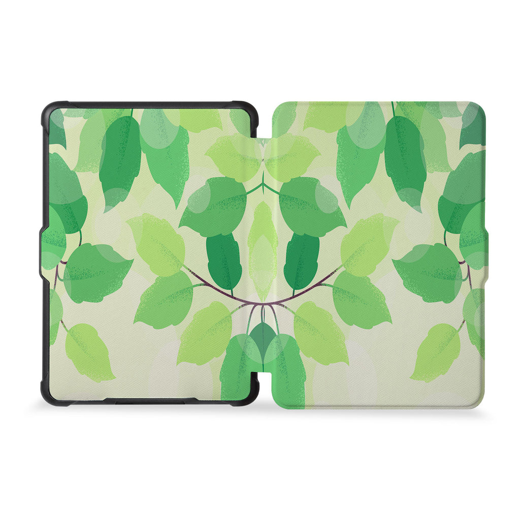 the whole front and back view of personalized kindle case paperwhite case with Leaves design