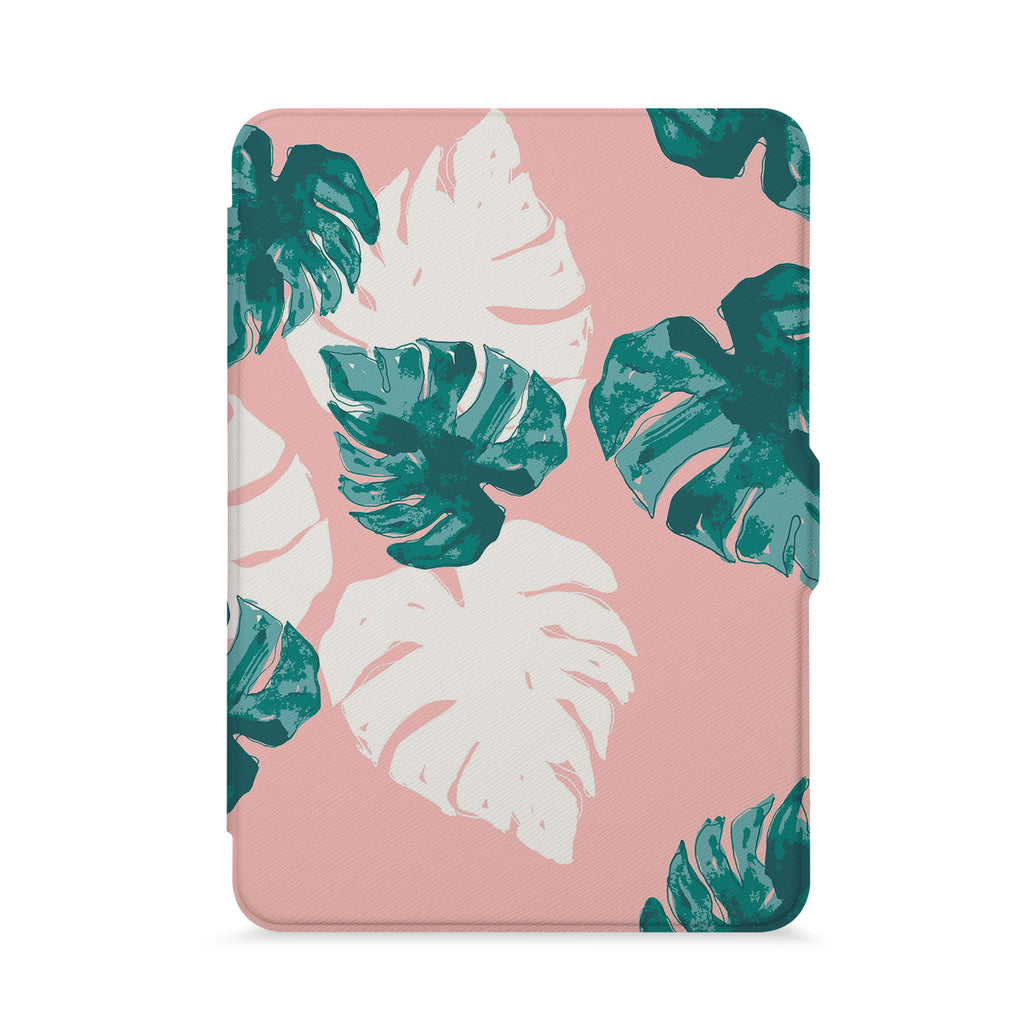front view of personalized kindle paperwhite case with Pink Flower 2 design - swap