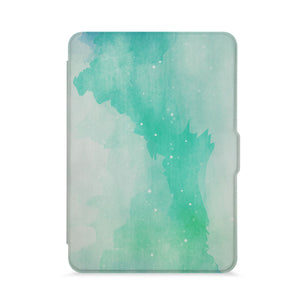 front view of personalized kindle paperwhite case with Abstract Watercolor Splash design - swap