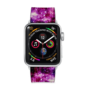 Our Printed Leather Apple Watch Band with Galaxy design are made of water- and scratch-resistant saffiano leather because we know you wear your apple watch every, single, day. - swap