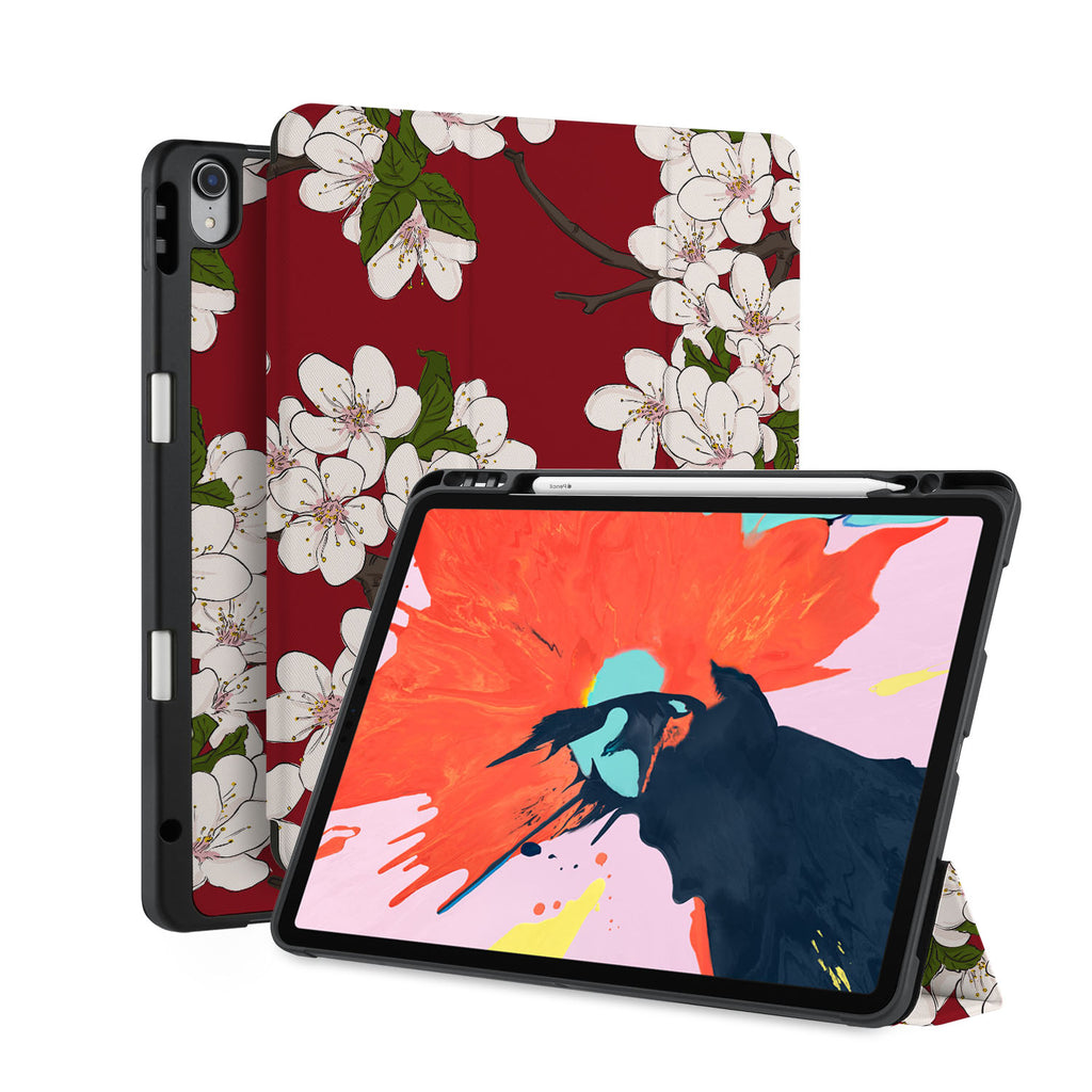 front back and stand view of personalized iPad case with pencil holder and Japanese design