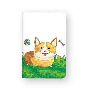 front view of personalized RFID blocking passport travel wallet with Forest Animals 02 Enjoyillustration design