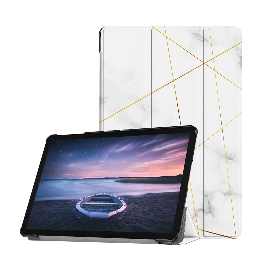 Personalized Samsung Galaxy Tab Case with Marble 2020 design provides screen protection during transit