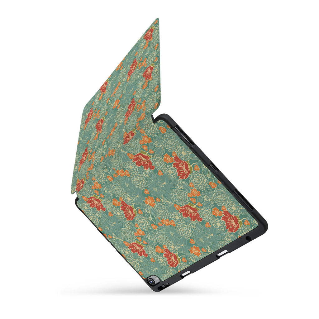 personalized iPad case with pencil holder and Blossom design