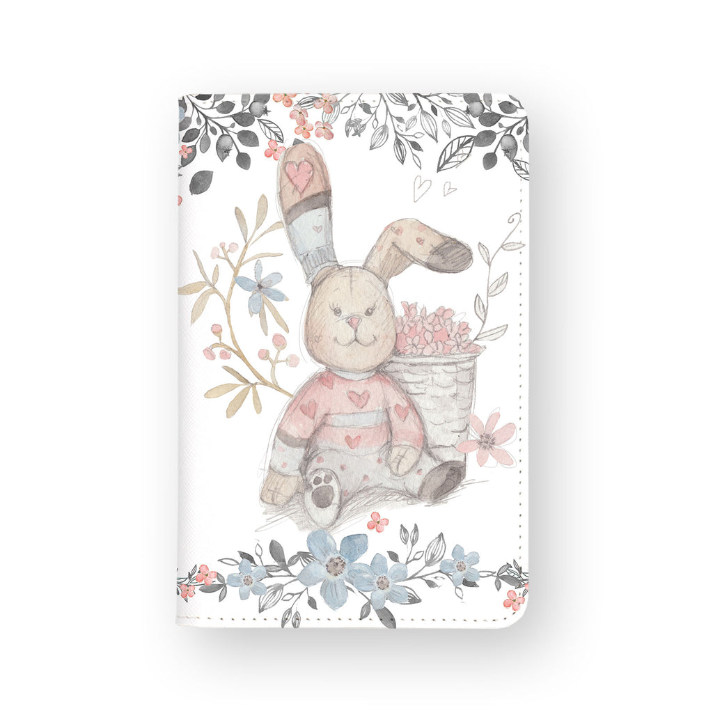 front view of personalized RFID blocking passport travel wallet with Fairy Rabbits design