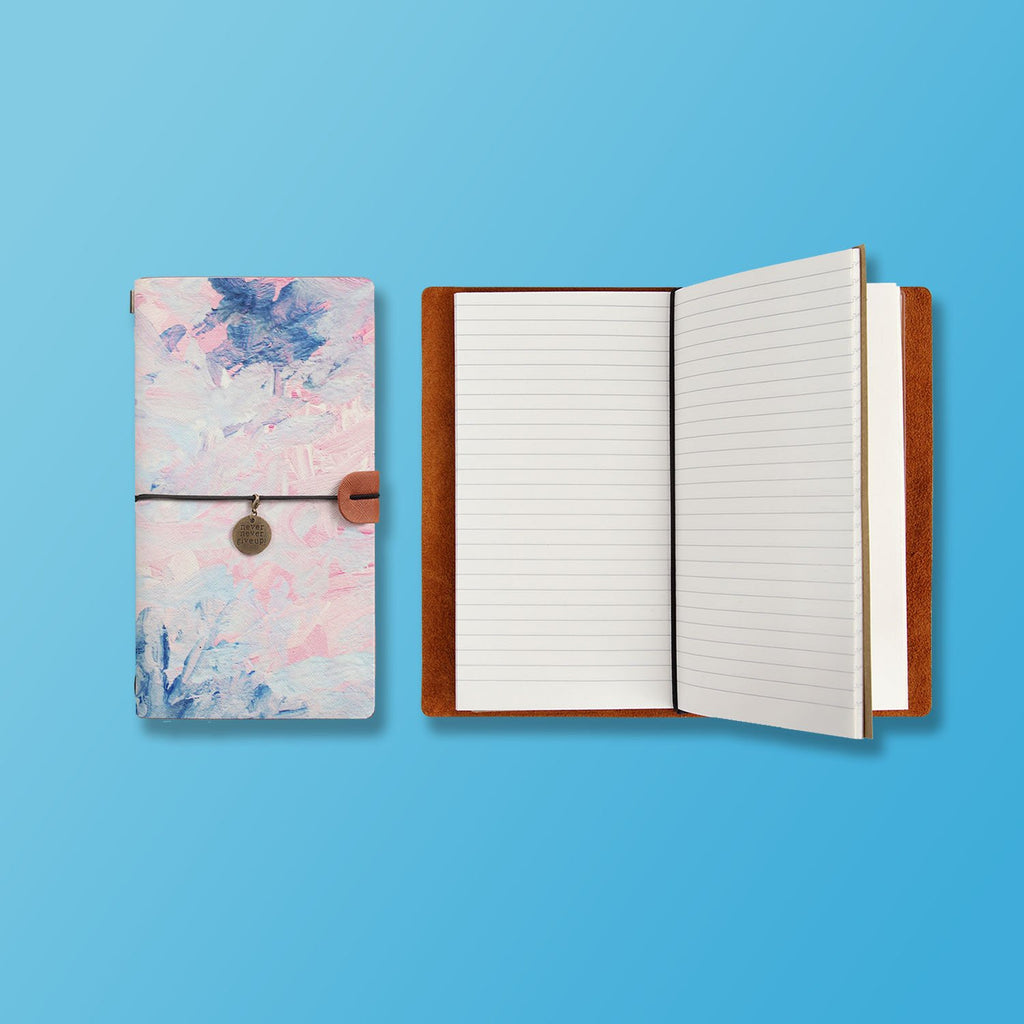 the front top view of midori style traveler's notebook with Oil Painting Abstract design