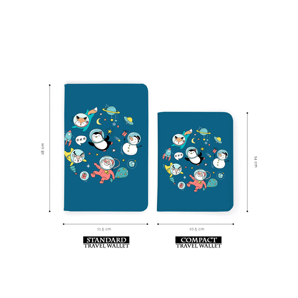 comparison of two sizes of personalized RFID blocking passport travel wallet with Christmas design