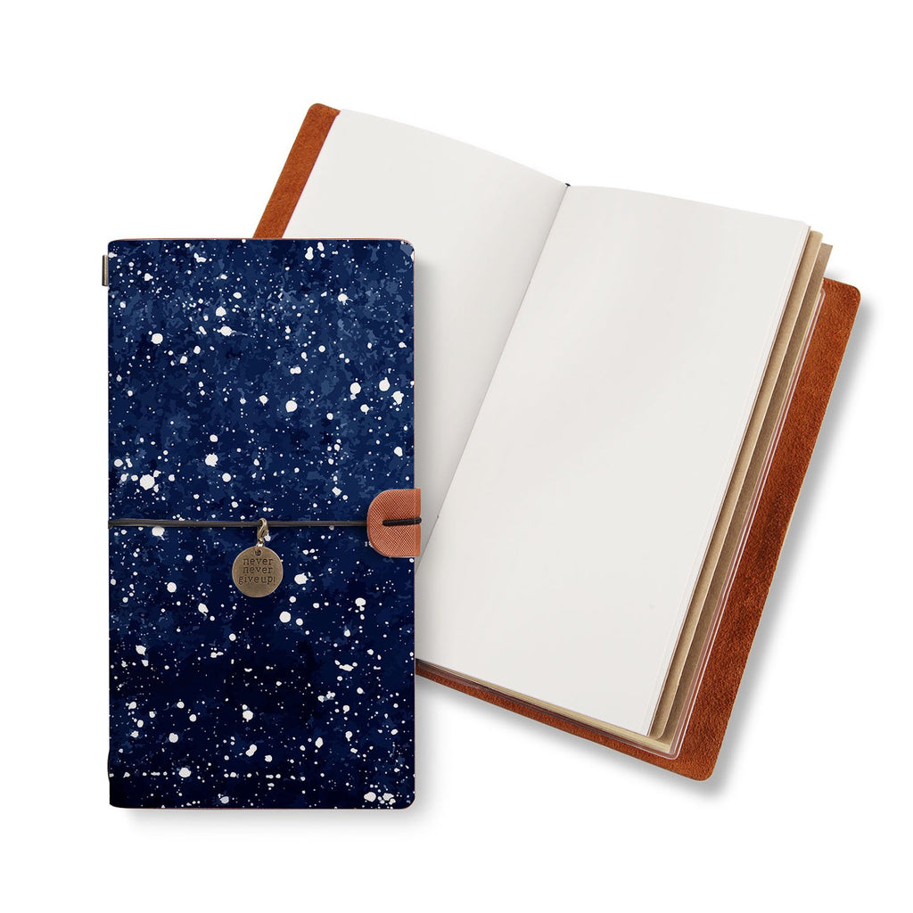 opened midori style traveler's notebook with Galaxy Universe design