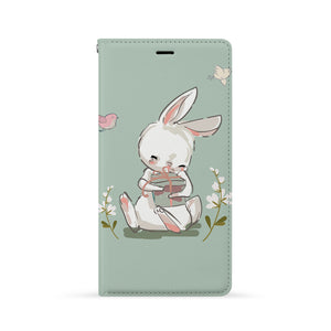 Front Side of Personalized iPhone Wallet Case with Bunny design