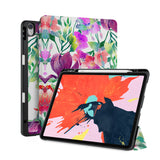 front back and stand view of personalized iPad case with pencil holder and Flower BG design