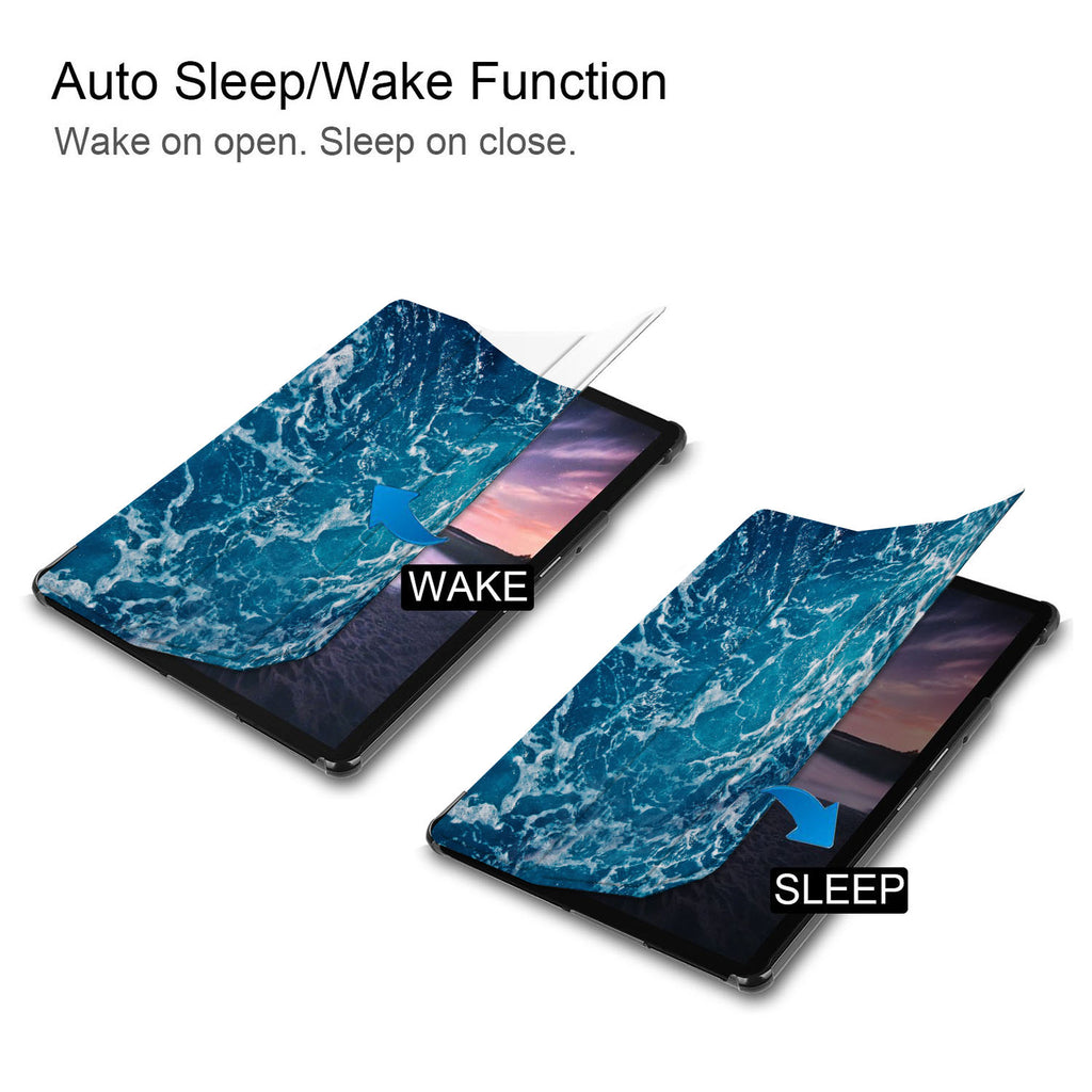It automatically wakes your iPad when opened and sends it to sleep when closed