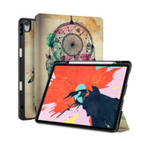 front back and stand view of personalized iPad case with pencil holder and DREAMCATCHER design