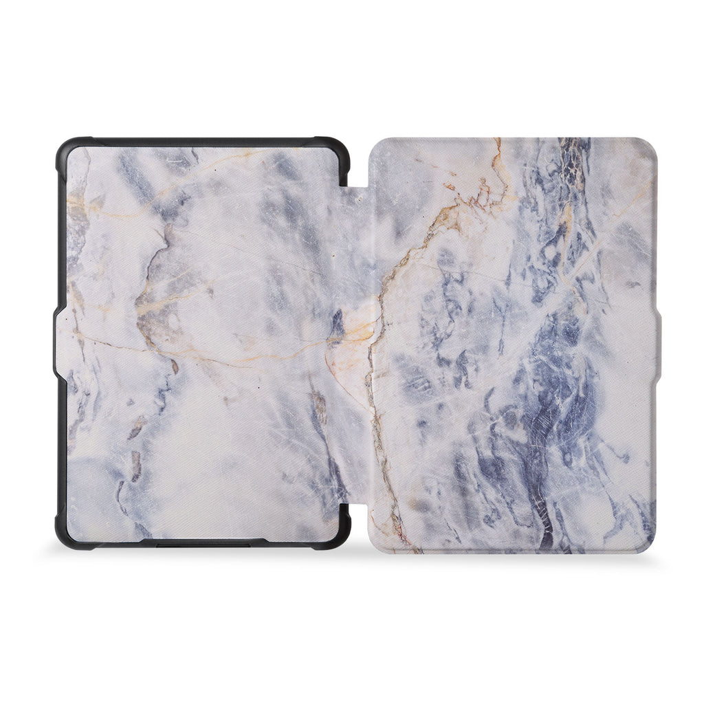 the whole front and back view of personalized kindle case paperwhite case with Marble design