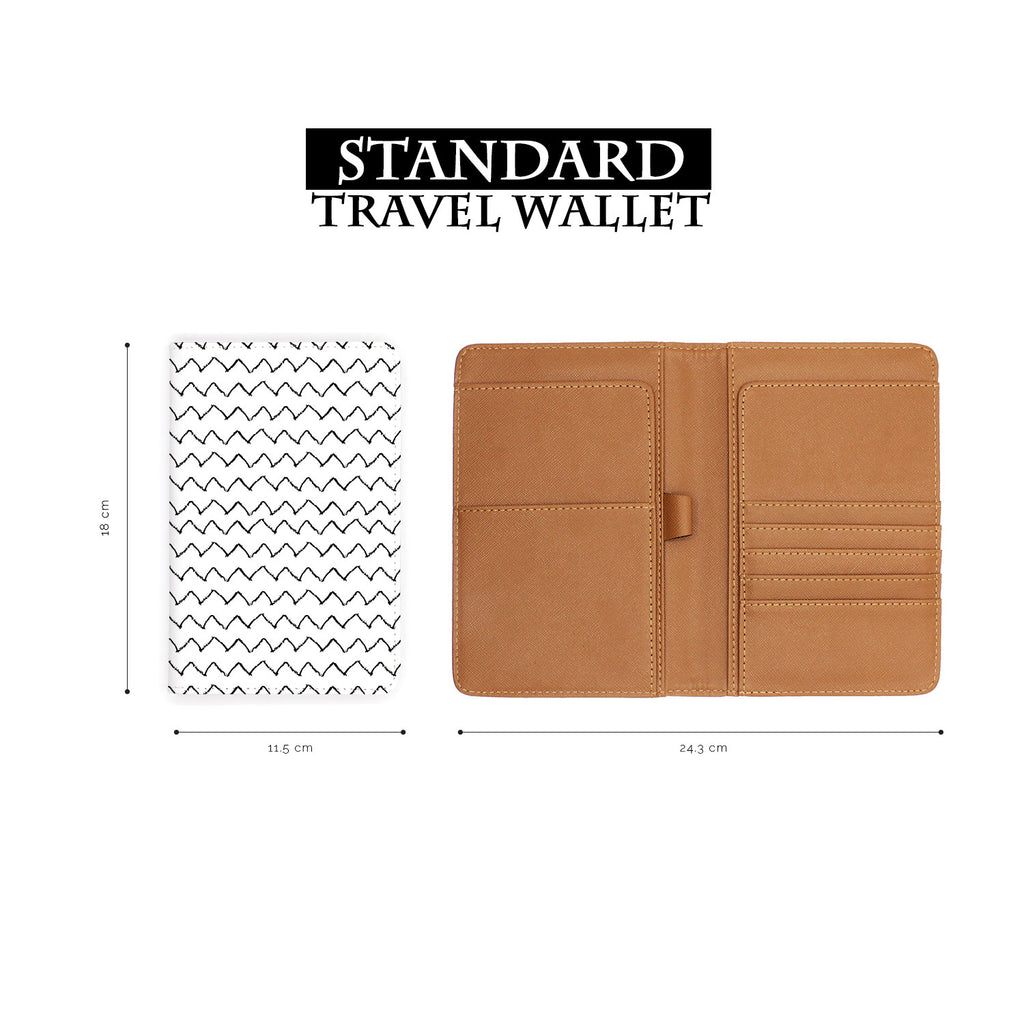 standard size of personalized RFID blocking passport travel wallet with Black Seamless Patterns design