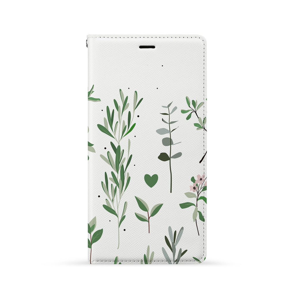 Front Side of Personalized Huawei Wallet Case with Flat Flower design