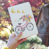 a girl holding personalized RFID blocking passport travel wallet with Springtime design