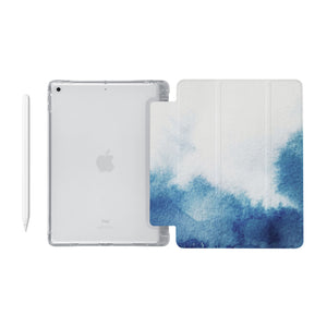 iPad SeeThru Casd with Abstract Ink Painting Design Fully compatible with the Apple Pencil