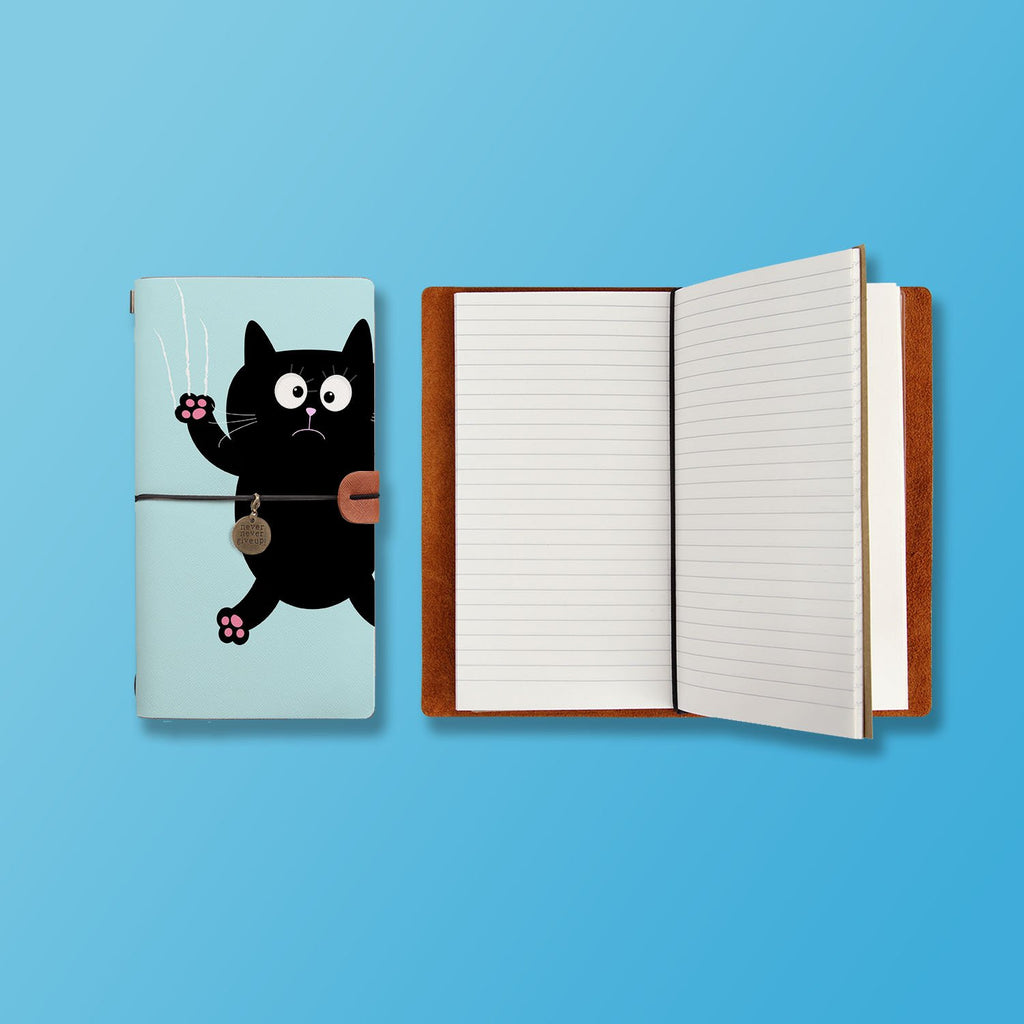 the front top view of midori style traveler's notebook with Cat Kitty design