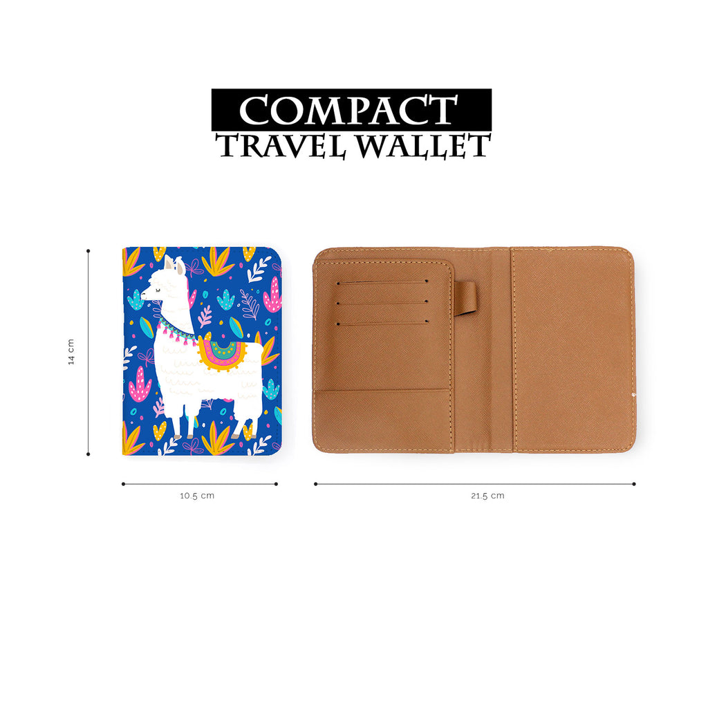 compact size of personalized RFID blocking passport travel wallet with Llamas design