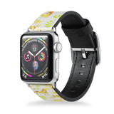 Handmade Printed Leather Apple Watch Band with Animals design from buttery-smooth leather - swap