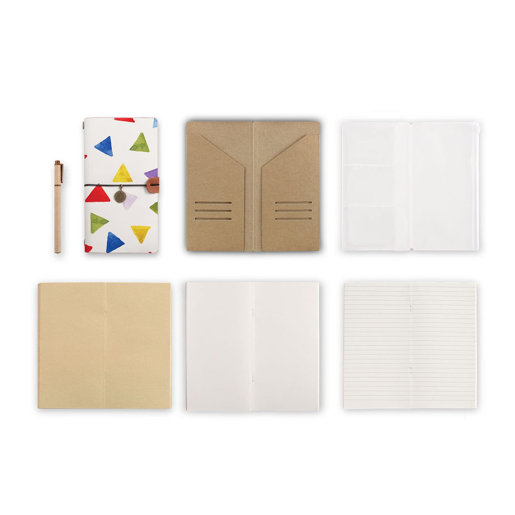 midori style traveler's notebook with Geometry Pattern design, refills and accessories