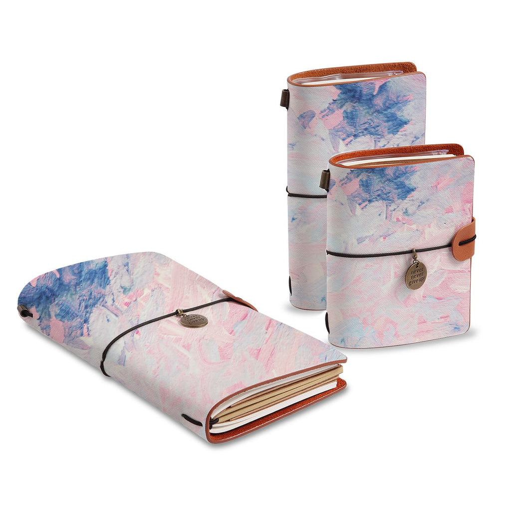 three size of midori style traveler's notebooks with Oil Painting Abstract design