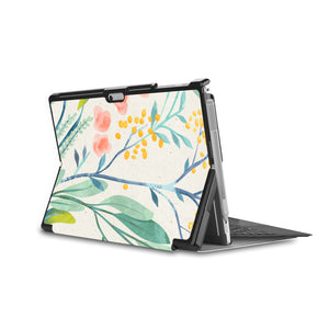 the back side of Personalized Microsoft Surface Pro and Go Case in Movie Stand View with Pink Flower design - swap