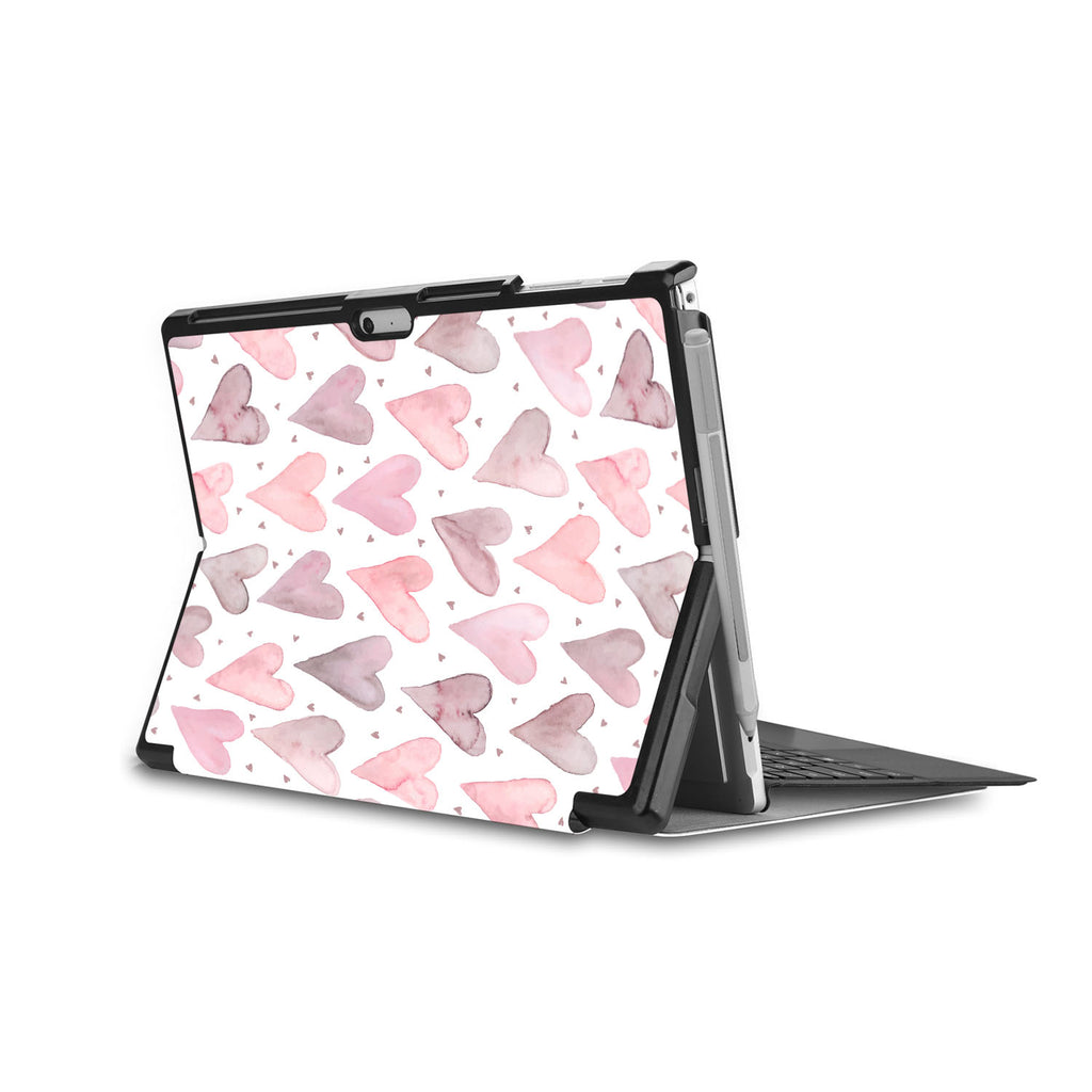 the back side of Personalized Microsoft Surface Pro and Go Case in Movie Stand View with Love design - swap