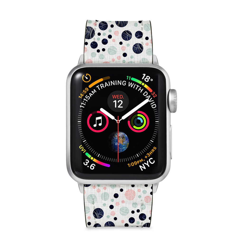 Our Printed Leather Apple Watch Band with Knitting design are made of water- and scratch-resistant saffiano leather because we know you wear your apple watch every, single, day. - swap