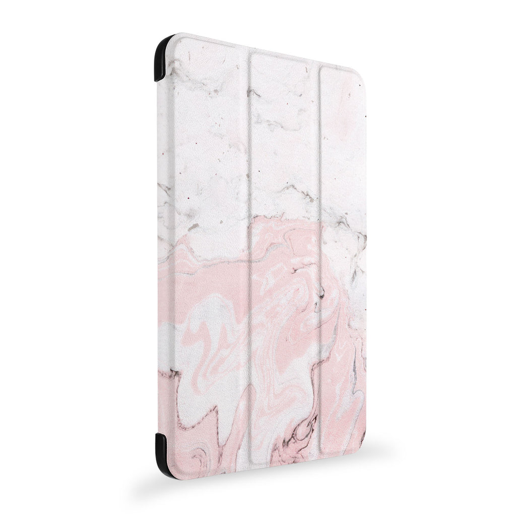 the side view of Personalized Samsung Galaxy Tab Case with Pink Marble design
