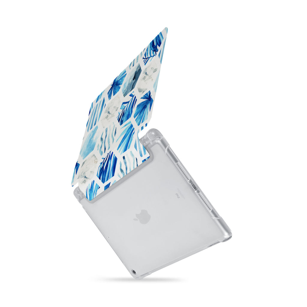iPad SeeThru Casd with Geometric Flower Design  Drop-tested by 3rd party labs to ensure 4-feet drop protection