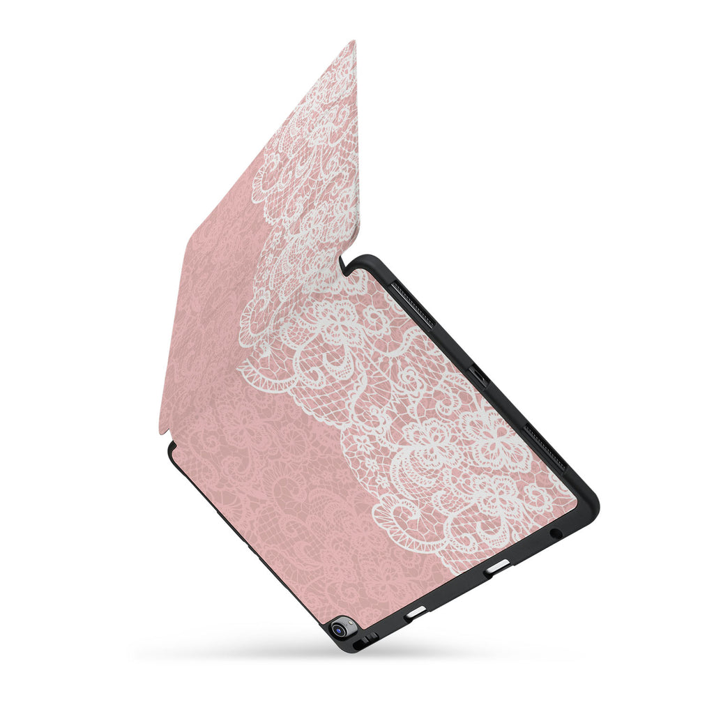 personalized iPad case with pencil holder and Lacework design