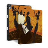 front back and stand view of personalized iPad case with pencil holder and Music design - swap