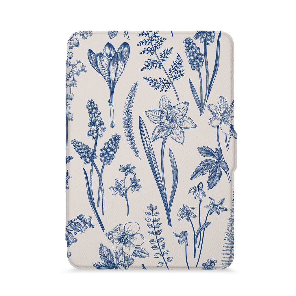 front view of personalized kindle paperwhite case with Flower design - swap