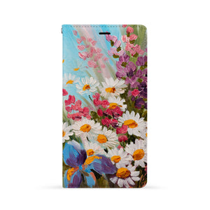 Front Side of Personalized iPhone Wallet Case with Oil Painting Flower design