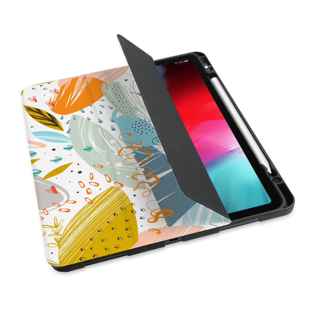 personalized iPad case with pencil holder and Crayon design
