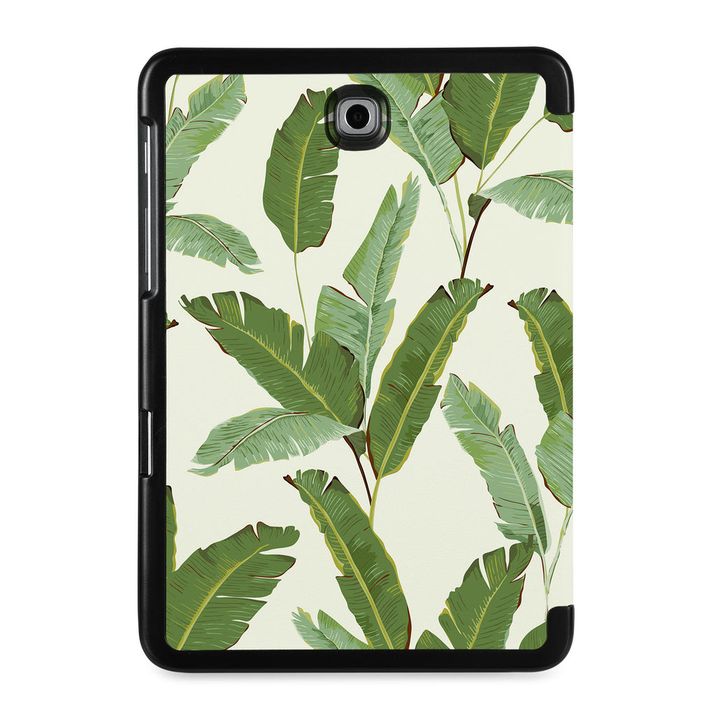 the back view of Personalized Samsung Galaxy Tab Case with Green Leaves design