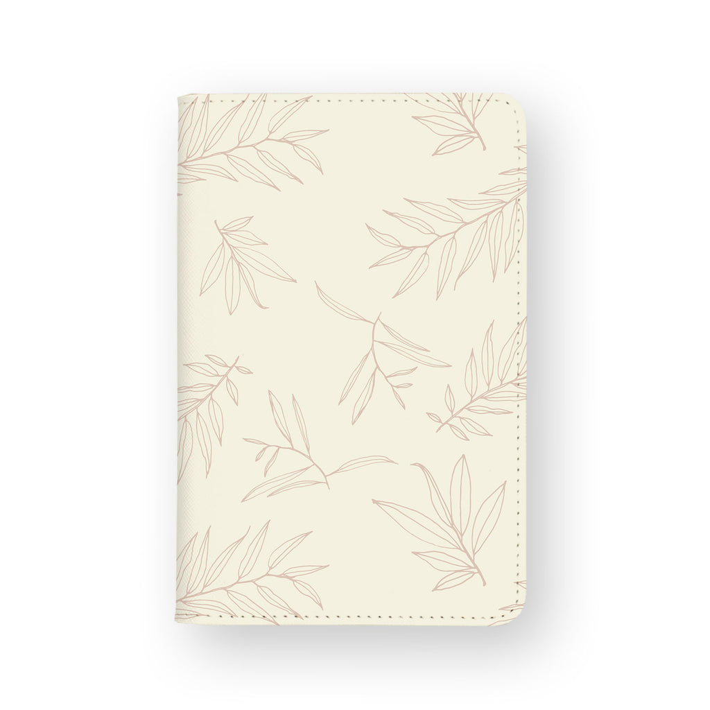 front view of personalized RFID blocking passport travel wallet with Romantic Leaves design