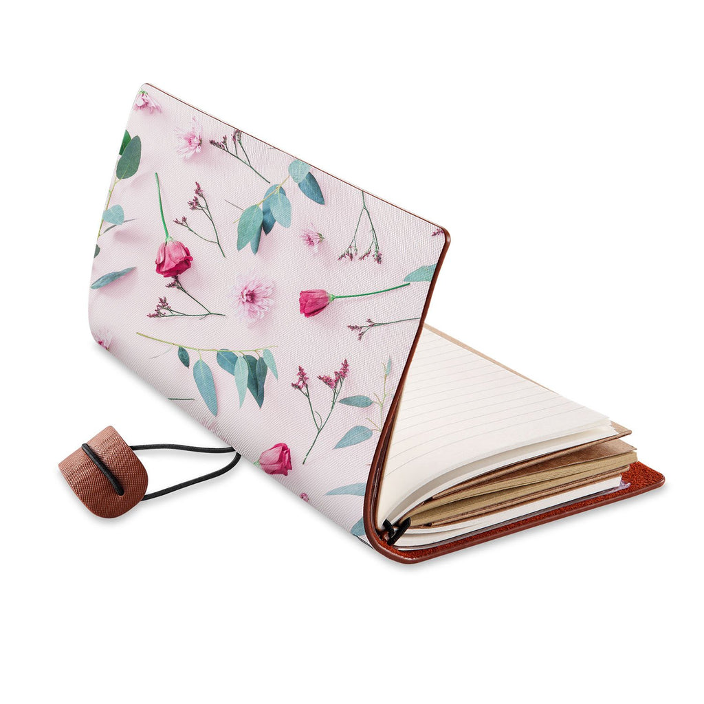 opened view of midori style traveler's notebook with Flat Flower 2 design