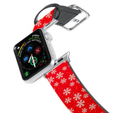Printed Leather Apple Watch Band with Christmas 6 design. Designed for Apple Watch Series 4,Works with all previous versions of Apple Watch.