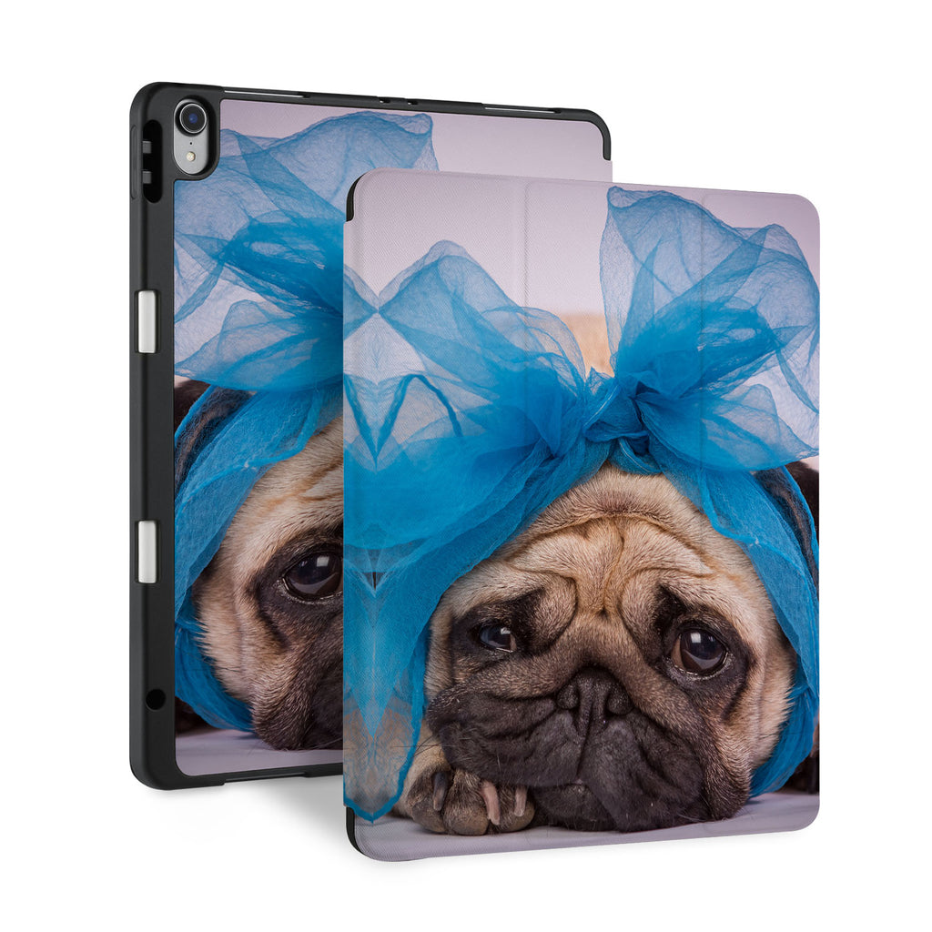 front back and stand view of personalized iPad case with pencil holder and Dog design - swap