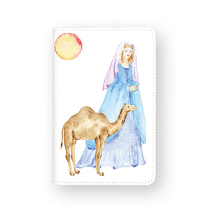 front view of personalized RFID blocking passport travel wallet with Clipart Nativity design