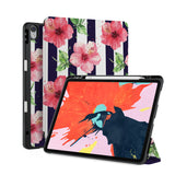 front back and stand view of personalized iPad case with pencil holder and Tropical Fantasy design