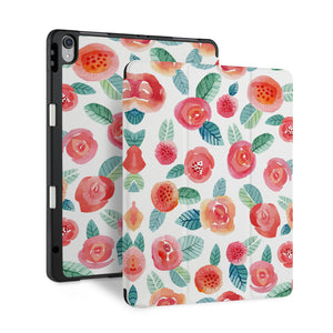 front back and stand view of personalized iPad case with pencil holder and Rose design - swap